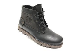 Ec -8875 - Ботинки мужские, нат. кожа - нат. мех, цвет чёрный, шнурок-замок, 8 пар, размеры с 40 по 45 (повторные размеры - 42, 43) - цена 2450 р.