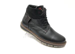Ec -8877 - Ботинки мужские, нат. кожа - нат. мех, цвет чёрный, шнурок-замок, 8 пар, размеры с 40 по 45 (повторные размеры - 41, 42) - цена 2400 р.