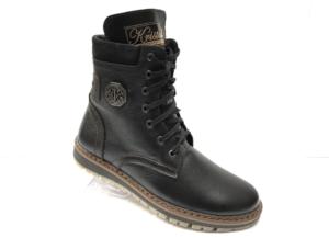 Ec -8878 - Ботинки мужские, нат. кожа - нат. мех, цвет чёрный, шнурок-замок, 8 пар, размеры с 40 по 45 (повторные размеры - 41, 42) - цена 2600 р.